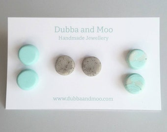 Mint marble granite studs Handmade polymer clay earring set of 3 surgical steel for sensitive ears
