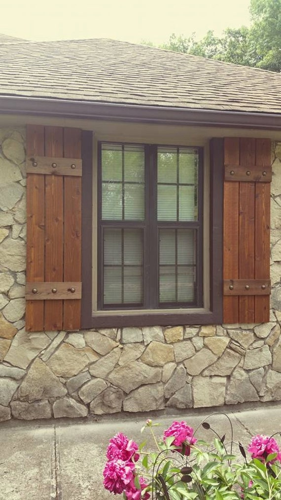 Items similar to stained cedar shutters exterior shutters for Where to buy house windows