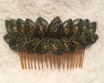 Dark Green and Gold Handspun Haircomb with Gold Beading