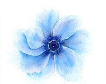 Flower art print of anemone watercolor painting, spring flowers gift for her in blue hues