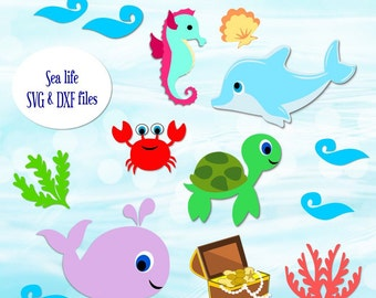 Sea Life SVG Cutting Files- Dolphin Svg cutting files- SVG cut files for cricut- SVG cut files for Silhouette- Under the Sea Svg set-