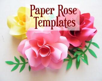 DIY Paper Flower Printable Templates- Paper rose pattern- SVG flower cut files- Paper rose bouquet- PDF printable flower templates
