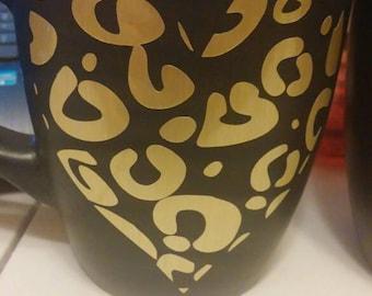 Cheetah Print Mug//Gold Cheetah Print Heart//Cheetah Heart//Coffee Mug//Girly Mug