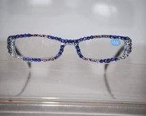 2.00 Swarovski Crystal Reading Glasses (Provence lavendar, tanzanite purple n Crystal) FREE SHIPPING