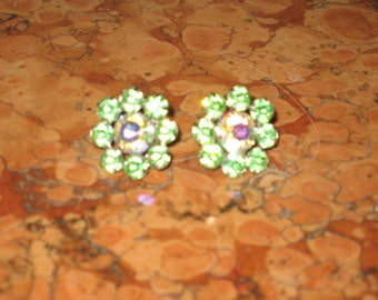 1940's Pair Weiss Screw back Green Rhinestone Earrings! #CT