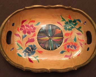Wood hand painted serving tray