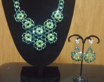 Emerald and Lime Green Floral necklace  with matching earrings and bracelet