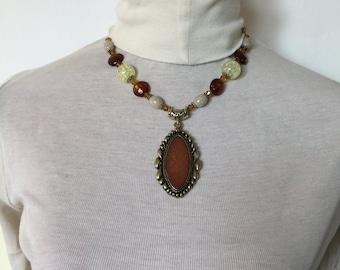 Leather rose fairytale pendant
