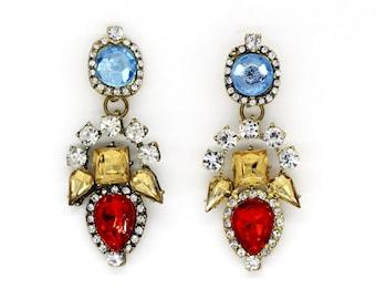 Vintage inspired large blue red & yellow crystal rhinestone earrings