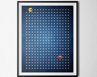 Pacman and Ghost Retro Gaming Digital Pattern Wall Art
