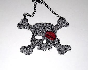 Pirate Cross Bones and Skull  pantyhose necklace