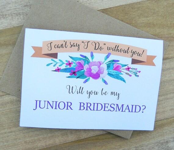 Will You Be My JUNIOR BRIDESMAID Card By MementoPaperCompany
