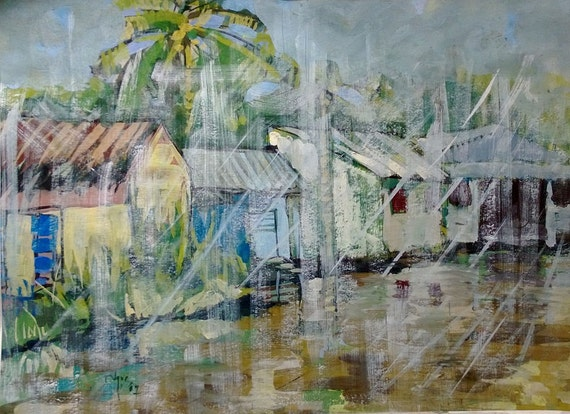 """RAIN 20x16"""" gouache on paper, live painting, Mekong Delta (Cần Thơ Province), original by Nguyen Ly Phuong Ngoc"""