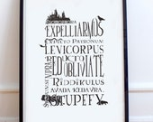 Harry Potter Inspired Typography Poster Print  Harry Potter spells Curses houses fanart Raven Lion Snake Badger Hogwarts