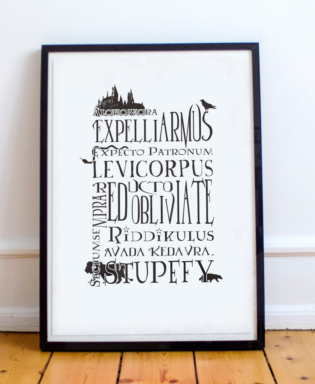 harry potter inspiriert typografie plakat druck harry potter. Black Bedroom Furniture Sets. Home Design Ideas