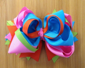 Pink, Green, Blue, boutique bow, boutique style hairbow, large boutique hairbow, birthday bow