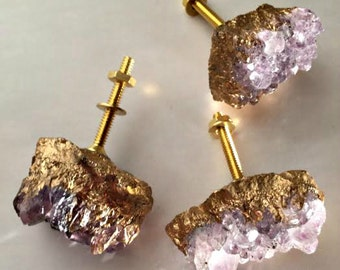Metallic Gold Amethyst Knobs