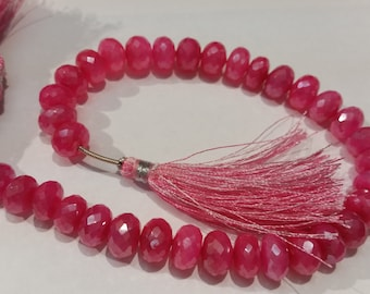 Dark Pink Chalcedony Mystic Faceted Roundel 9-10mm