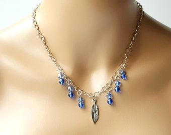 Feather & Crystal Chain Necklace