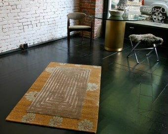 Tibetan hand-knotted silk and wool rug, Contemporary design, 3 x 5 ft.