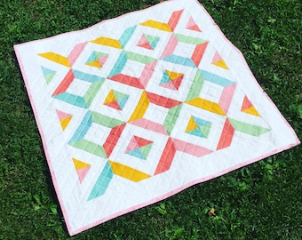 Handmade Cotton Baby Quilt - Purple - Blue - Pink - Red - Green - Orange - One of a Kind - Newborn - Baby Shower - Welcoming Gift