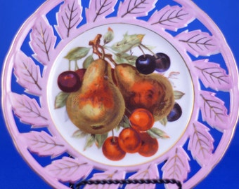 Set of TWO Royal Halsey Very Fine Pierced Fruit Plates