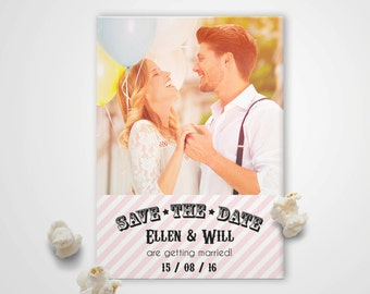 Save the Date Photo Magnet - Candy Stripe