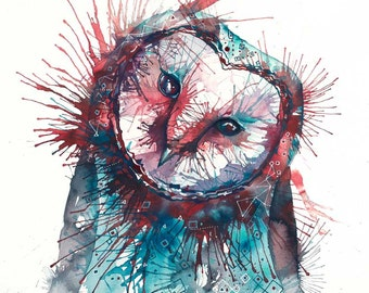 Owl painting -  'THE ORACLE' -  Signed & mounted giclee print