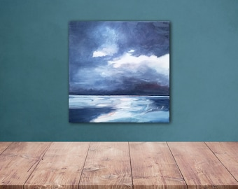 Beach in winter original oil painting on canvas. Size : 11,8 x 11,8 X 1 In. Cotton stretched canvas.