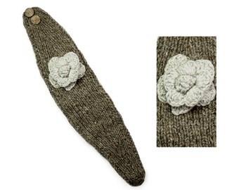 Hand Knit Wool Headband, Womens Winter Earwarmer - Light Natural Browns - 1735T