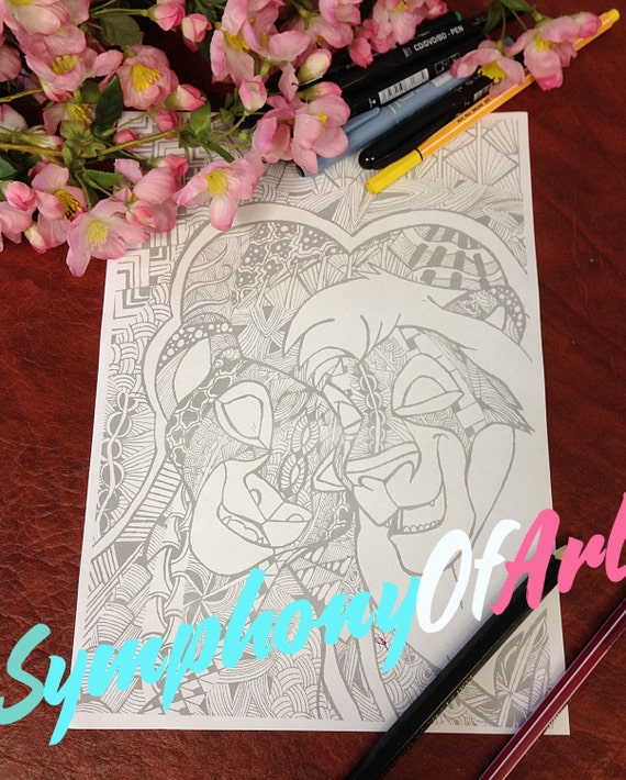 Doodle Adult Coloring Page, PDF Zentangle Coloring Page, Line art, Printable Coloring Page, Download, Lion King love