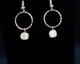 Shimmering Silver and White Dangle Earrings
