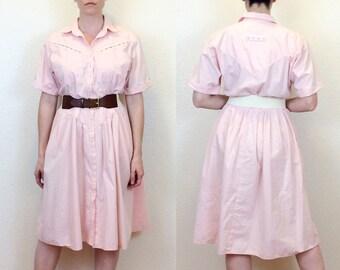 COTTON CANDY - 80s Pale Pink Shirtdress - Pastel Pink - 80s Dress - 80s Shirtdress - Pink Dress - Kasper for A.S.L. - Size Large / XL