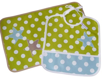 Placemat - THREE STAR - (oilcloth) and bib Kit