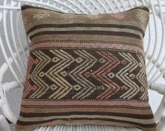 """pastel striped kilim 16"""" x 16 bohemian pillow case 16x16 creation kilim pillow throw pillow cushion hippie pillow embroidery  pillow 431"""