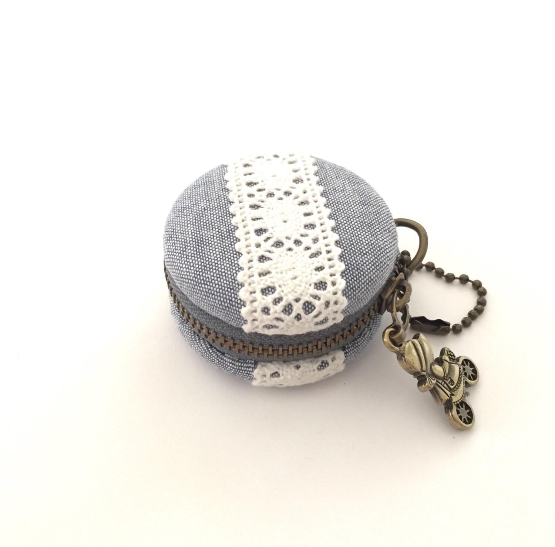 Purse Jewelry: 5 Cm Macaron Coin Purse Jewelry Case Blue Jeans Cotton