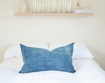 """Faded Patchwork Panel Indigo Pillow 