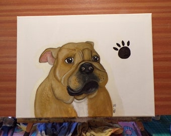 "Slightly less ""cartoony"" Bull Dog puppy original oil painting"