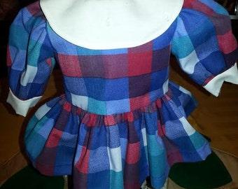 18 Inch American Girl Doll Clothes - School Girl Dress LS Handmade