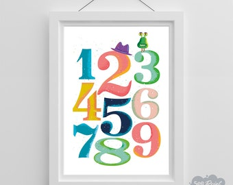 123 counting poster, numbers art, printable wall art, printable poster, kids nursery wall art