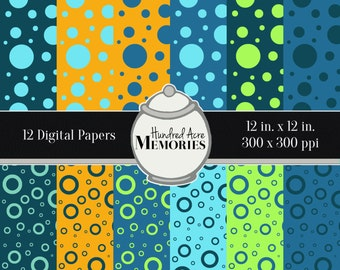 Digital Papers, Summer Brights Dots and Loops, 12 inches x 12 inches, 300 ppi (dpi), Scrapbooking & Craft Papers, Downloadable and Printable