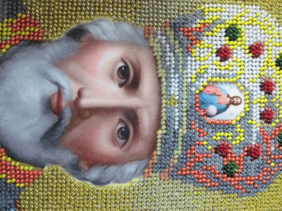 Pictures Wall art Decor Grandmother Handpainted Religious gift  Orthodox Baptism gift St Nicholas  Bead art Grandfather Bead Christian decor