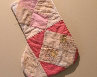 Vintage Christmas Stocking - Made from Antique Quilt