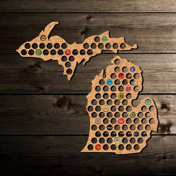 Beer Cap Map Michigan Beer Cap Holder Beer Cap By
