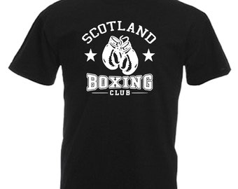 Scotland Boxing Club Adults Black T Shirt Sizes From Small - 3XL