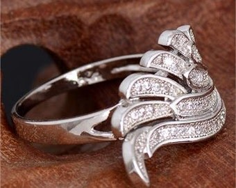 Sterling Pave Wing Ring with Cubic Zirconia