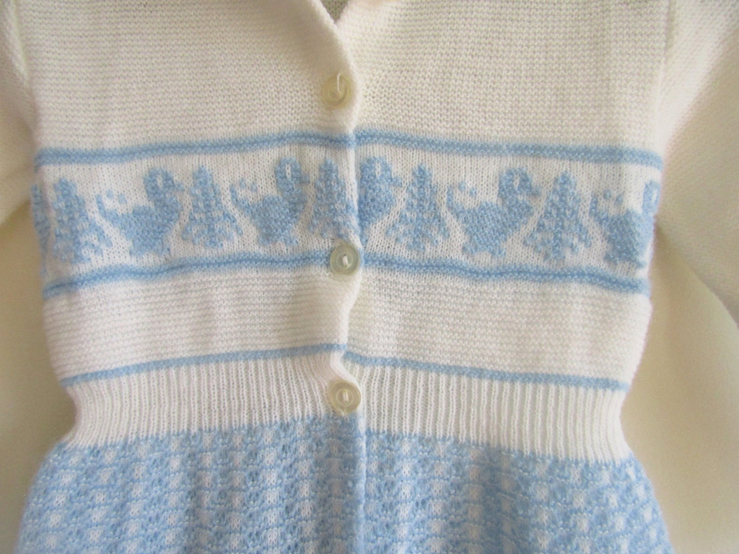 0 6 Mos White And Blue Knitted Cable Granny Sweater Cardigan