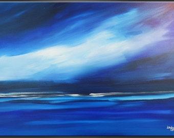 "artLigne.....Blue Horizon...20"" x 27"" in...Contemporary art"