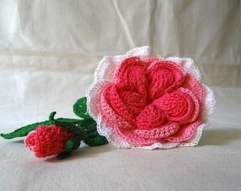 Crochet Rose Pattern, David Austin Rose, Crochet Rose, DIY Wedding Bouquet, Crochet Flowers, Crochet Flower Pattern