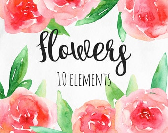 Watercolor red flowers clip art Pink floral arrangement Romantic clipart Abstract flowers Hand painted roses Png elements Digital download